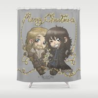 fili Shower Curtains featuring Christmas Fili and Kili by AlyTheKitten