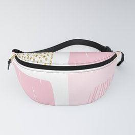 Abstract Pink Paint Glitter Gold Drops  Fanny Pack
