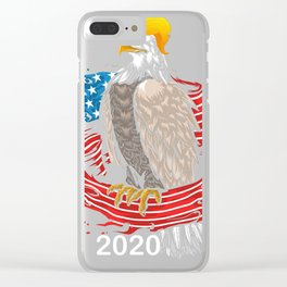 Skull with iconic Trump Hair Eagle president Flag America Tees Clear iPhone Case