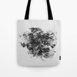 women and smoke, black and white Tote Bag