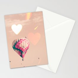 Hot air balloon nursery and heart bokeh on pale pink Stationery Cards