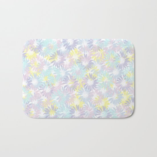 Painterly Pastel Spring Garden Abstract Bath Mat