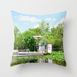 Everglades Safari Boat Throw Pillow
