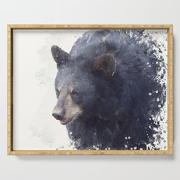 Black Bear portrait watercolor painting on white background Serving Tray