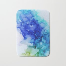 Abstract Mood Blue Turquoise and lima green Bath Mat