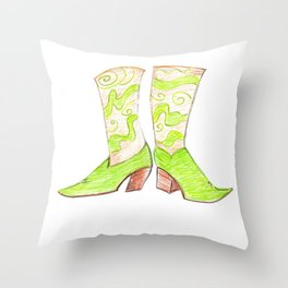 Crazy Cowgirl Boots Throw Pillow