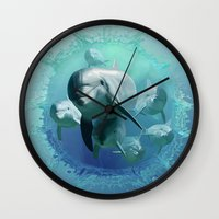 dolphins Wall Clocks featuring Dolphins by Lynne Hoad