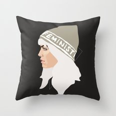 Feminist (Silver) Throw Pillow
