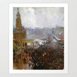 Arthur Streeton - Fireman's Funeral, George Street - Digital Remastered Edition Art Print
