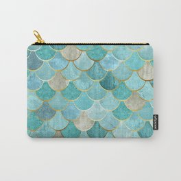 Moroccan Mermaid Fish Scale Pattern, Aqua,Teal Carry-All Pouch