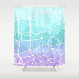 Cyan, Turquoise, and Purple Triangles Shower Curtain