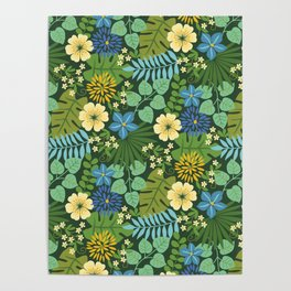 Tropical Blue and Yellow Floral Poster