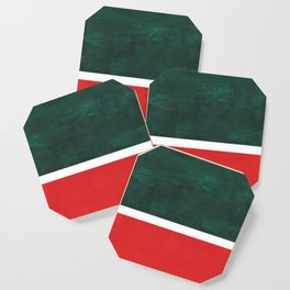 Phthalo Green Red Minimalist Abstract Colorful Minimalist Color Field Color Block Pattern Coaster