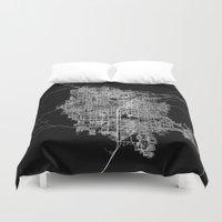 las vegas Duvet Covers featuring Las Vegas map by Line Line Lines