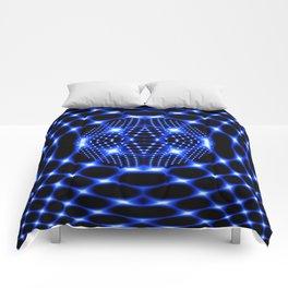 Neon blue glob fractal Comforters