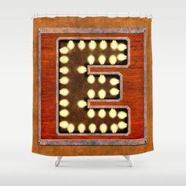 Monogram Letter E - Vintage Style Lighted Sign Shower Curtain