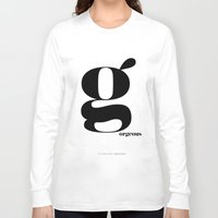 scandinavian Long Sleeve T-shirts featuring Letter G, Gorgeous Scandinavian Design Typography by Nordic Print Studio