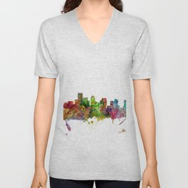 Boston Massachusetts Skyline Unisex V-Neck