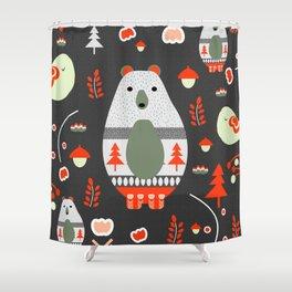 Christmas bears and birds Shower Curtain