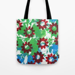 Red Flowers on Green and Blue Tote Bag