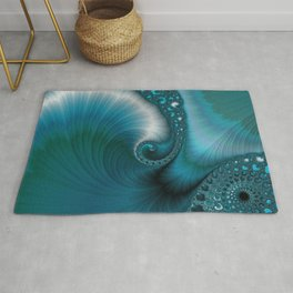 Turquoise Blue Abstract Ocean Wave Turquoise Blue Rug