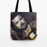 brad pitt Tote Bags featuring The Pitt by Basma