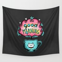 good morning Wall Tapestries featuring Good Morning! by Anna Alekseeva kostolom3000