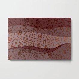 ETHNO PATTERN Modern | red Metal Print