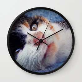 striped kitten laying Wall Clock