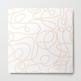 Doodle Line Art | Peach/Apricot Lines on White Background Metal Print