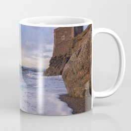Golden hour with a lighthouse in the beach Coffee Mug
