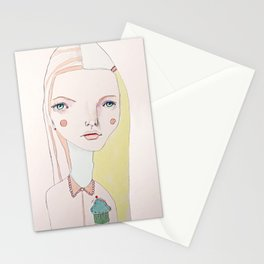 The Girl with the Cupcake for a Heart Stationery Cards