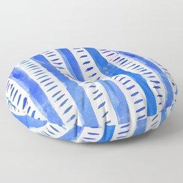Watercolor lines - blue Floor Pillow