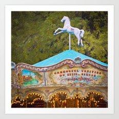Vintage Paris Carousel Art Print