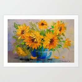 Bouquet of sunflowers in a vase Art Print