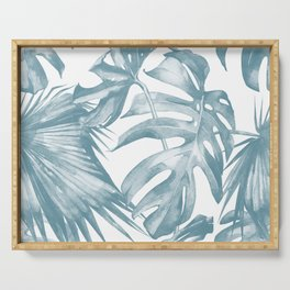 Island Dream Teal Blue Leaves Serving Tray