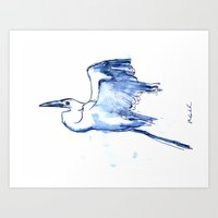 Heron in Indigo Art Print
