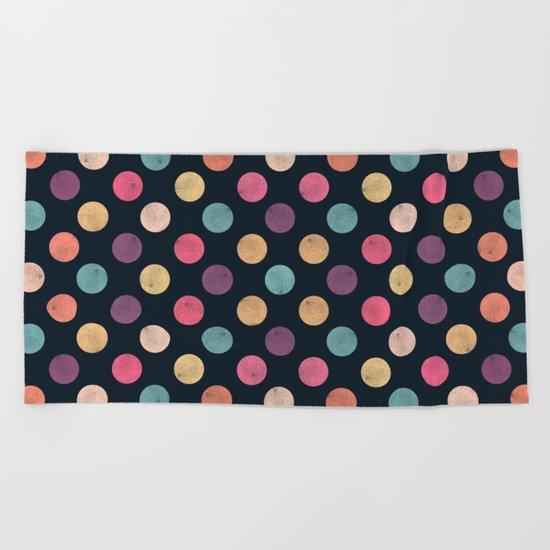 Watercolor Dots Pattern II Beach Towel