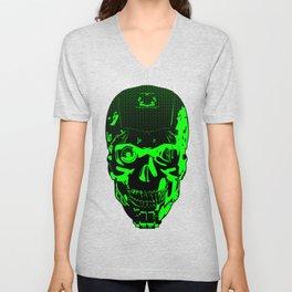 Gamer Skull CARTOON GREEN / 3D render of cyborg head Unisex V-Neck