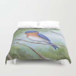 Bluebird on Branch Duvet Cover