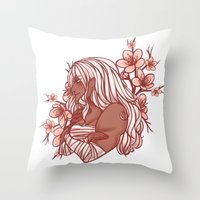 dangan ronpa Throw Pillows featuring Cherry Blossoms by bitterkiwi