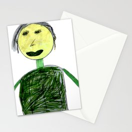 Children drawing of grandmother with felt-tip pens Stationery Cards
