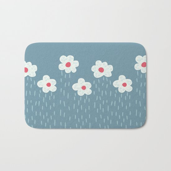 Rainy Flowery Clouds Bath Mat