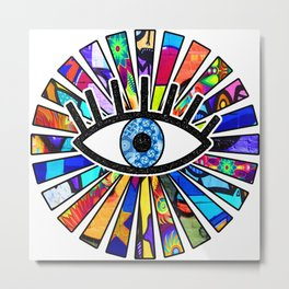 Greek Evil Eye Graffiti Sun Rays Metal Print