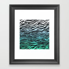 TEAL ZEBRA FADE Framed Art Print