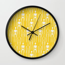Mustard Yellow and White, Modern People Pattern. Wall Clock