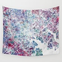 baltimore Wall Tapestries featuring Baltimore by MapMapMaps.Watercolors