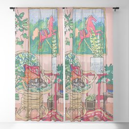 Napping Tabby Cat in Cane Chair in Pink Room with Horse Painting Sheer Curtain
