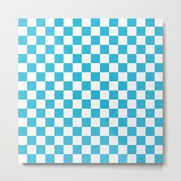 Gingham Vivid Arctic Blue Checked Pattern Metal Print