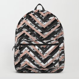 Black and White Marble and Rose Gold Chevron Zigzag Backpack